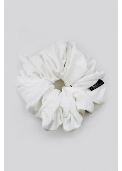Velvet scrunchie off-white